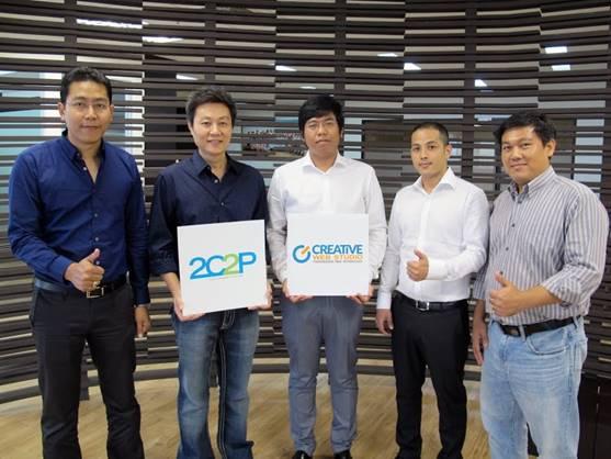 L2R – Mr. Aung Phyo, Executive Director at Creative Web Studio, Mr. Piyachart Rattanaprasartporn, CEO at 2C2P Thailand Pte Ltd., Mr. Zin Min Soe, Creative Director at Creative Web Studios, Mr. Wai Phyo Thu, Technical Director at Creative Web Studio and Mr. Myo Zaw ,Chief Technology Officer at 2C2P.
