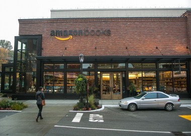 "SEATTLE, WA - NOVEMBER 5: Online giant, Amazon.com, has opened its first ""brick and mortar"" retail bookstore as viewed on November 5, 2015, in Seattle, Washington. The store. called Amazon Books, is located in the upscale University Village shopping mall adjacent to the University of Washington. (Photo by George Rose/Getty Images)"
