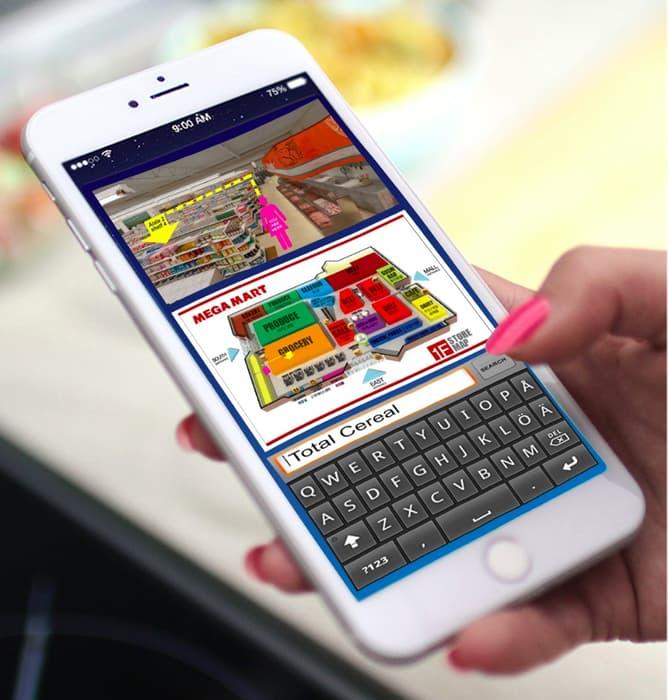 แผนที่ของซูเปอร์มาร์เก็ตที่สามารถเปิดดูได้จากสมาร์ทโฟน