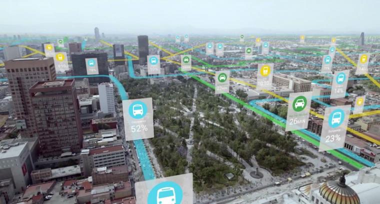เทคโนโลยี AR ที่สร้างภาพกราฟิกซ้อนทับภาพถนนจริงลงไปเพื่อแจ้งข้อมูลสภาพการจราจรให้ผู้ใช้งานทราบ
