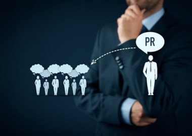 56359351 - public relations (pr) concept. businessman think about pr services (public relations) and its impact to public.