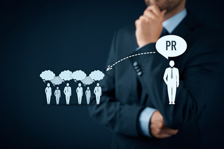 56359351 - public relations (pr) concept. businessman think about pr services (public relations) and its impact to public.