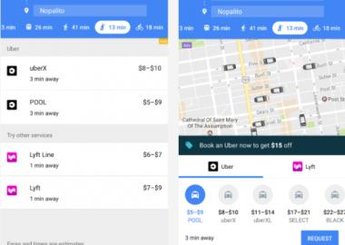 หน้าจอใหม่ของ Google Maps ปรากฏแท็บเรียกรถจาก Uber - Lyft ขึ้นที่ด้านล่าง