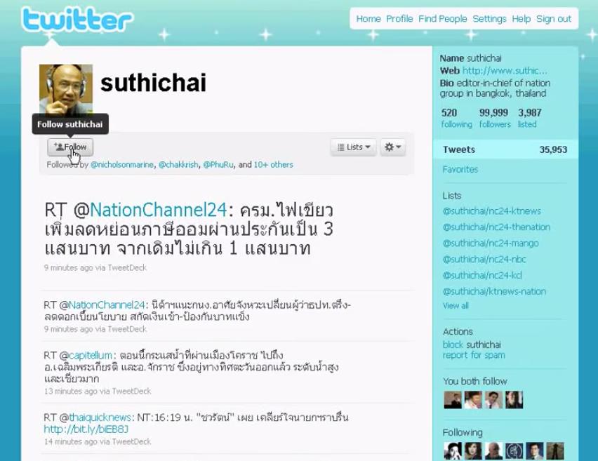 Twitter @suthichai ที่มีผู้ติดตามครบ 100,000 คน